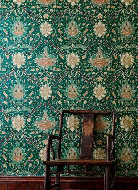 Papel pintado Embry verde pino Ver habitación