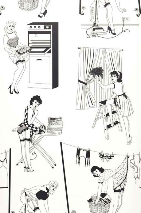 Dupenny Wallpaper Wallpaper 50's Housewives black Roll Width