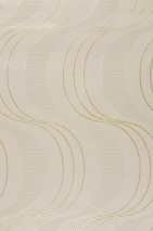 Wallpaper Keiko Shiny pattern Matt base surface Waves Beige Gold glitter