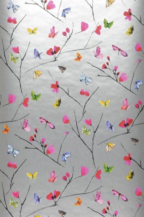 Wallpaper Darleen Matt pattern Shimmering base surface Blossoms Butterflies Branches Silver Heather violet Yellow Green Red