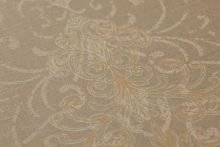 Wallpaper Palamedes Shimmering Baroque damask Grey beige Pearl beige Light ivory Sand yellow