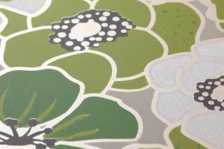 Papel pintado Ashbury Efecto impreso a mano Mate Flores Gris claro  Crema brillante Verde amarillento Verde Gris negruzco