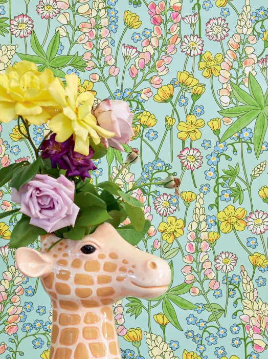 Wallpaper Cybill Matt Field flowers Pastel green Brilliant blue shimmer Heather violet Yellow green Rape yellow