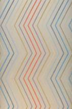Wallpaper Hornus Shimmering pattern Matt base surface Zigzag Light grey beige Blue Brown beige Grey blue Pastel violet Red