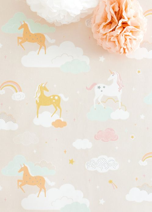 Majvillan Wallpaper Wallpaper Rainbow treasures pale pink Room View