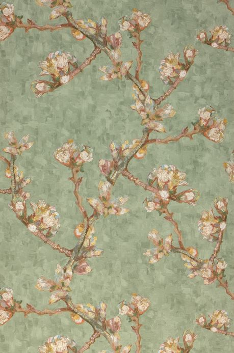 Botanical Wallpaper Wallpaper VanGogh Bloomy pale green Roll Width