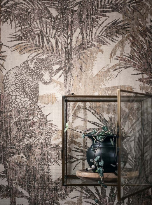 Wallpaper Casaba Matt Leopards Palm trees Palm tree fronds Cream Brown-green Grey Grey beige Pastel violet Rosewood