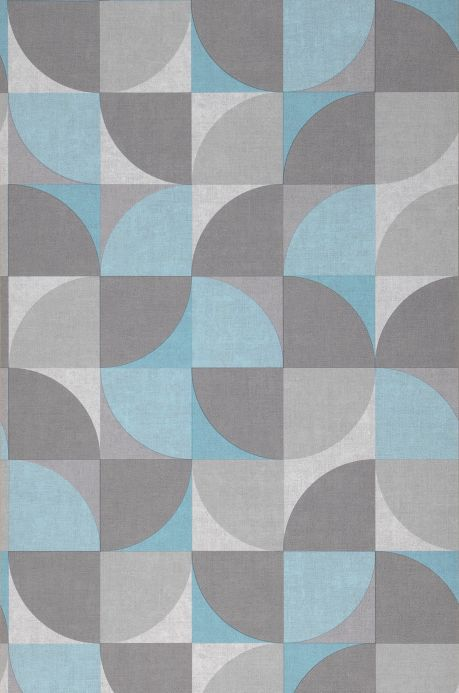 Papel de parede geométrico Papel de parede Junimo azul turquesa Largura do rolo