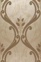 Wallpaper Harmonia Shiny pattern Shimmering base surface Baroque damask Pearl beige Gold lustre Grey beige Matt gold