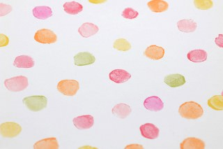 Papier peint Uncountable Dots Mat Points Blanc crème Jaune Vert Orange Rosé Rouge