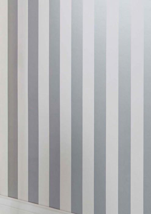 Papier peint Zuleika Mat Rayures Argenté brillant Blanc