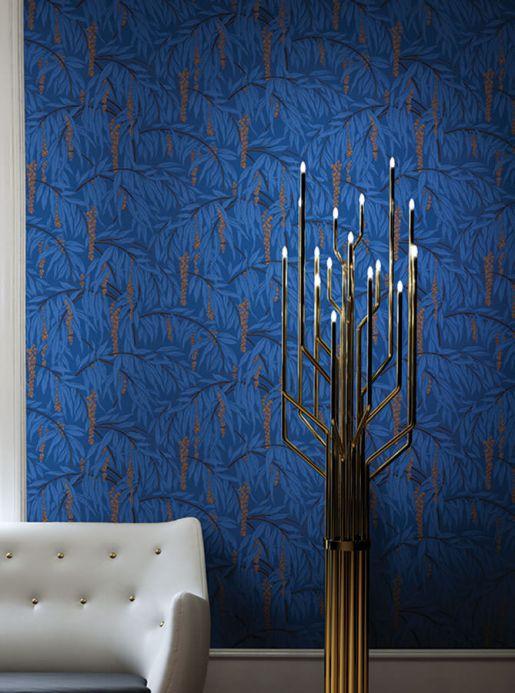 Botanical Wallpaper Wallpaper Maringa light blue Room View
