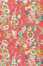 Wallpaper Megara Shimmering pattern Matt base surface Flowers Strawberry red Blue Yellow Green Light ivory Red
