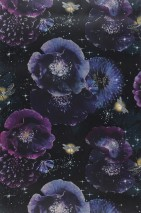 Wallpaper Novalee Glitter effect Matt Blossoms Dragonflies Stars Black blue Sand yellow Silver glitter Violet tones White