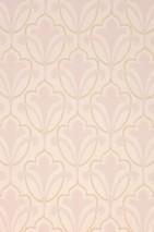 Wallpaper Cassia Hand printed look Matt Floral damask Art nouveau Cream Beige Pale pink
