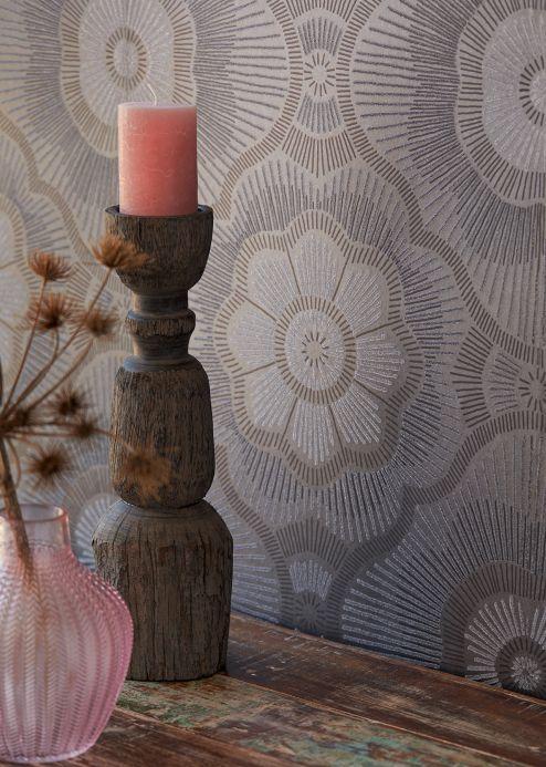 Papel de parede pérolas de vidro Papel de parede Riverana marrom acinzentado brilhante Ver quarto