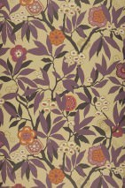 Wallpaper Towa Matt Leaves Blossoms Branches Beige Pale purple violet Cream Orange brown   Black grey