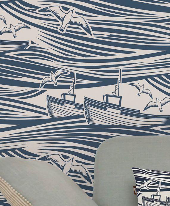 Papier peint romantique Papier peint Ulysses bleu ciel Vue pièce