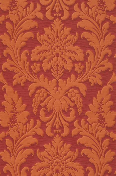 Wallpaper Marunda Matt Looks like textile Baroque damask Ruby red Orange brown
