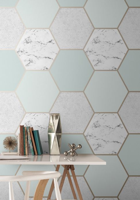 Geometric Wallpaper Wallpaper Novara light mint turquoise Room View