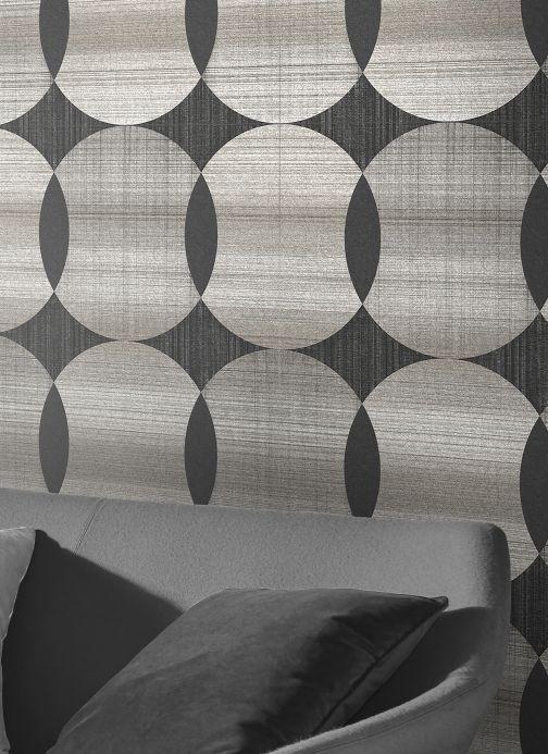 Geometric Wallpaper Wallpaper Kasavu silver grey shimmer Room View