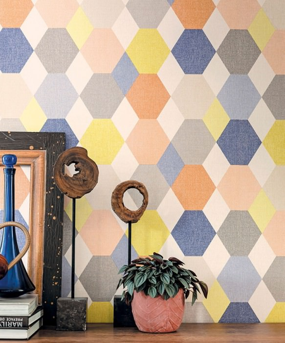 Wallpaper Tobbe Fine linen look Matt Hexagons Rhombuses Blue Cream Yellow Grey Orange