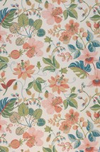 Wallpaper Frederika Hand printed look Matt Leaves Blossoms Cream Beige Beige red Shades of green Light pink Ocean blue Pastel turquoise