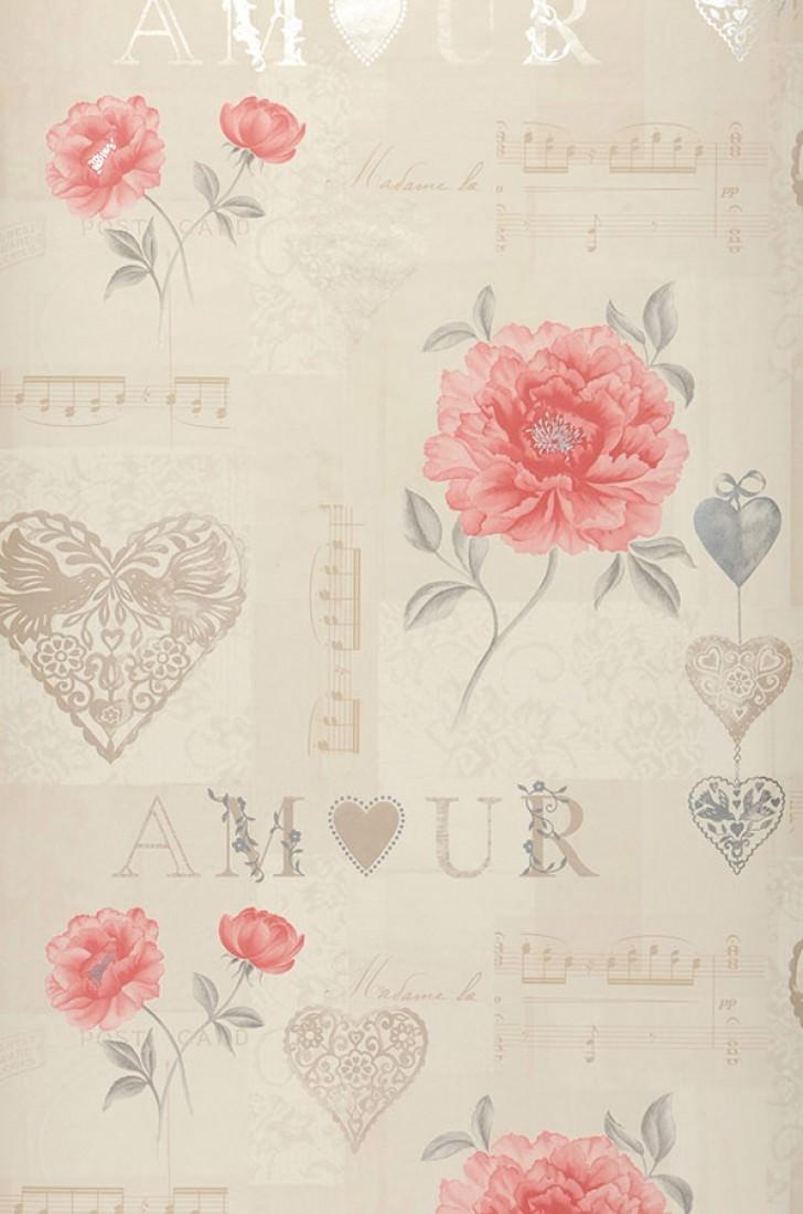 Verala crema blanco crema gris beige gris ceo rojo for Papel pintado romantico