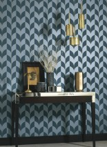 Wallpaper Caprice Matt Art Deco Bends Stripes Golden yellow pearl lustre Green blue Green-blue pearl lustre