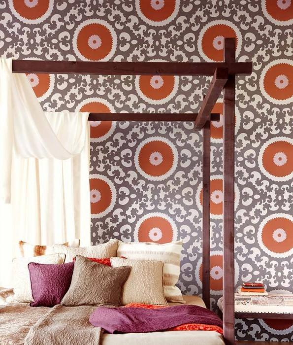 Wallpaper Aton Matt pattern Shimmering base surface Baroque elements Circles White gold Brown orange Grey white Light grey brown