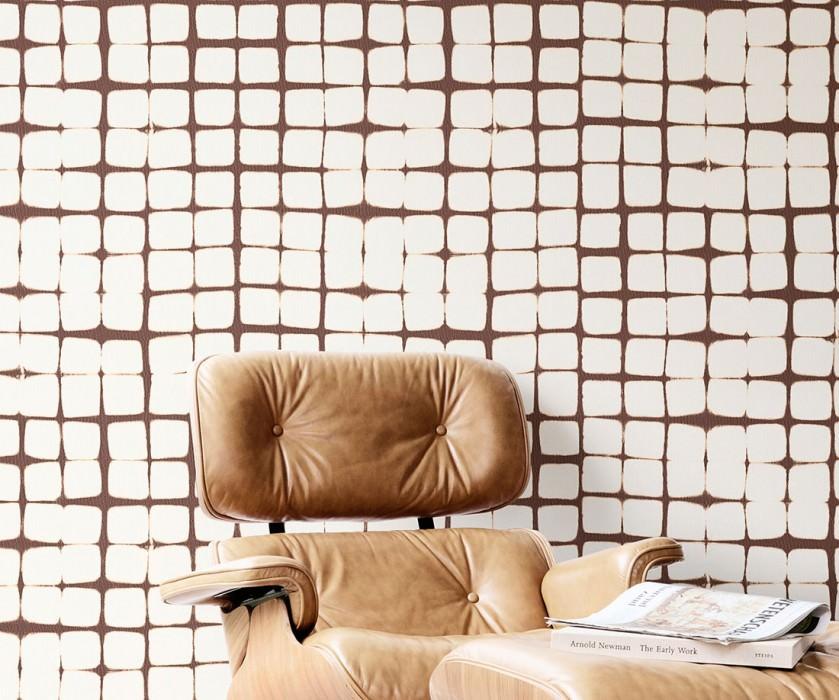 Wallpaper Zenun Fine linen look Graphic elements Cream Chocolate brown