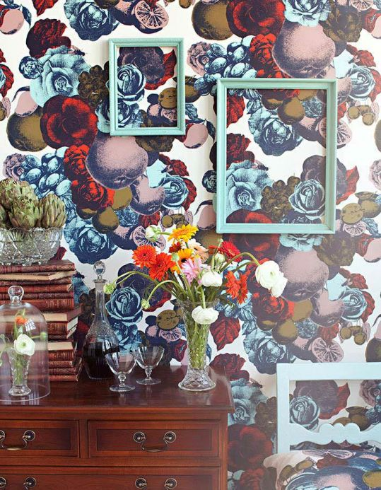 Floral Wallpaper Wallpaper Boudoir pastel turquoise Room View