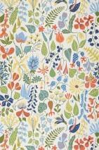 Wallpaper Eurynome Matt Stylised flowers White Pale yellow Dark blue Yellow green Light blue Red orange