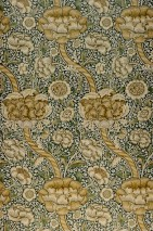 Wallpaper Benedetta Matt Flower tendrils Blossoms Dark green Green brown Light ivory Khaki Olive green