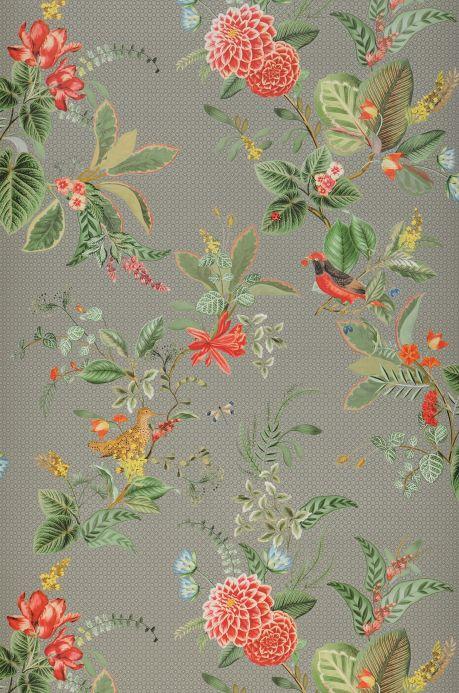 Papel de parede floral Papel de parede Sylvania cinza claro Bahnbreite
