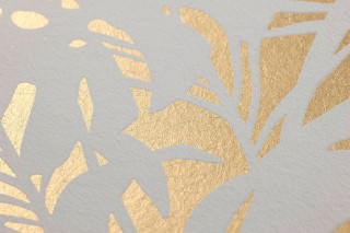 Wallpaper Persephone Matt pattern Shimmering base surface Palm fronds Gold shimmer Grey white