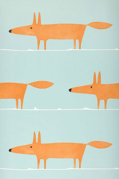 Carta da parati design Carta da parati What does the Fox say turchese pallido Larghezza rotolo