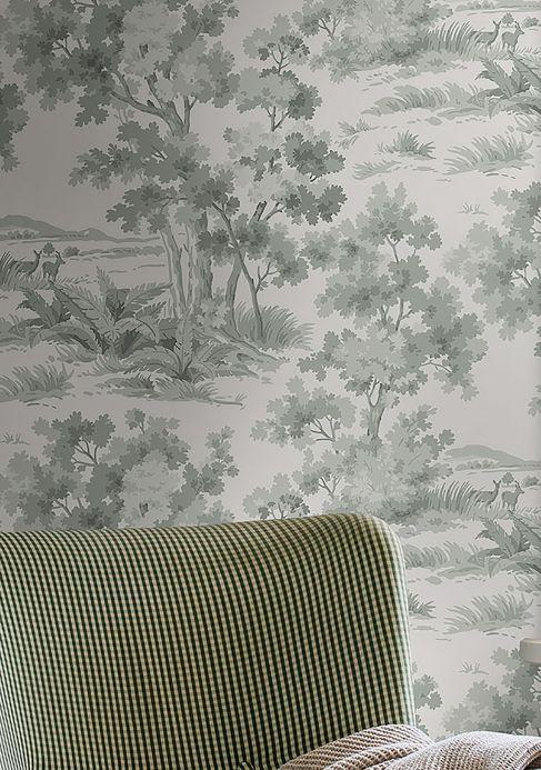 Papel pintado Papel pintado Calobra gris menta Ver habitación