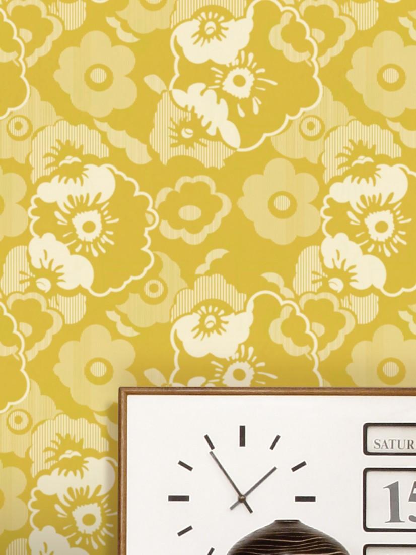 Wallpaper Catia Lemon Yellow Grey White Wallpaper From The 70s