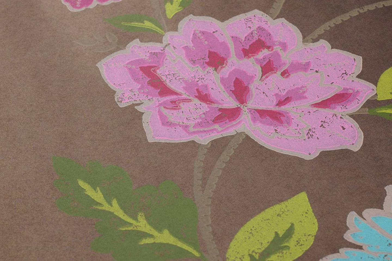 Papel pintado forseti marr n gris ceo verde rosa for Papel pintado de los 70