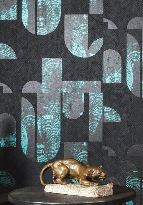 Orientalische Tapeten Tapete Orest Türkisblau Schimmer Raumansicht
