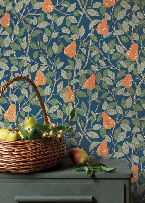 Country style Wallpaper Wallpaper Estelle dark blue Room View