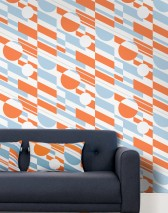 Wallpaper Calimero Matt Geometrical elements Modern Art Cream Orange Pastel blue Silver shimmer