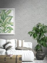 Papel pintado Cyrus Mate Hexágonos Negro Blanco Negro