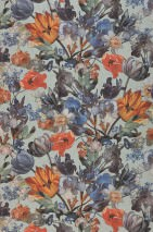 Wallpaper Joslina Matt Looks like textile Flowers Pale turquoise Green Blue Brown Orange Red Violet blue