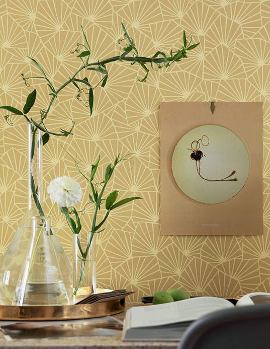 Geometric Wallpaper Wallpaper Elma sand yellow Room View