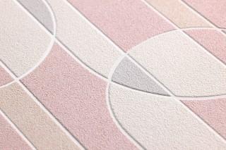 Carta da parati Asenio Opaco Elementi grafici Bianco Bianco crema Beige chiaro  Grigio chiaro  Rosa chiaro