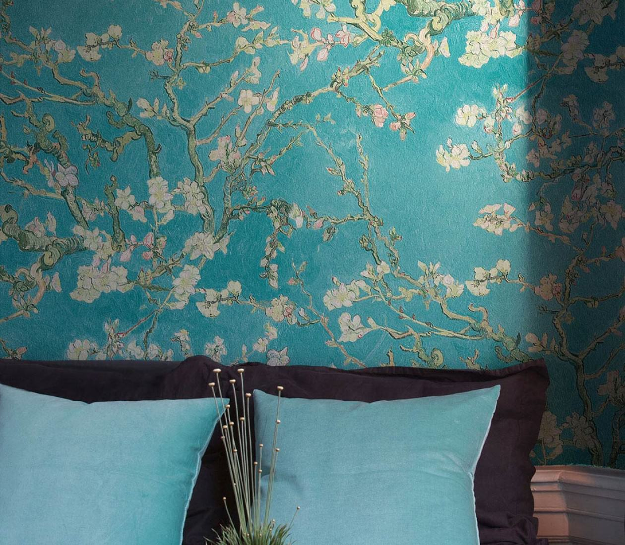 wallpaper vangogh blossom turquoise pale green brown red green beige black brown. Black Bedroom Furniture Sets. Home Design Ideas