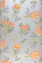 Wallpaper Beda Matt pattern Shimmering base surface Flower tendrils White aluminium Fern green Grey Red orange Reed green
