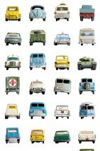 Wallpaper Cars Matt Vintage cars White Blue Cream Yellow Olive green